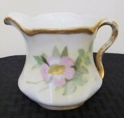 Antique J And C Jaeger Louise Bavarian China Creamer White With Pink Floral Gold
