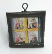 Antique Russian Hand-painted Enamel Finift Icon Of Four-part Mother Of God 19th