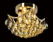 Small Ceiling Mount With Golden Teak Crystal Prisms L8 X W8 X H5 4-lights