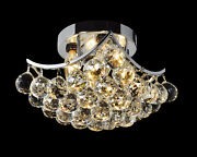 Small Chrome Ceiling Mount With Clear Crystal Prisms L8 X W8 X H5 4-lights