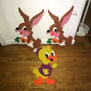 Easter Bunny Rabbit Duck Wall Hanging Decor Melted Popcorn Plastic Figure 20