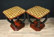Pair Art Deco Side Tables Inlay Furniture Cocktail