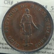 Lc-9a2 Iccs Au-55 One Penny Token 1837 Lower Bas Canada City Bank Breton 521
