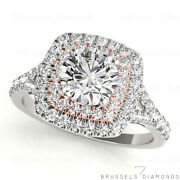 1 Ct Real Diamond Halo Engagement Ring Round Cut G/vs2 14k White And Rose Gold