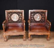 Pair Chinese Arm Chairs - Antique Hardwood Mother Of Pearl Inlay Chair