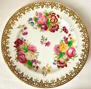 Set Of 4 Rare C1934 Hand Painted Spode's Copeland 6in Floral And Gold Plates, 6965