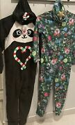 Justice Girls One Piece Hooded Holiday Pajamas. 2 Sets. Size 10. Discontinued