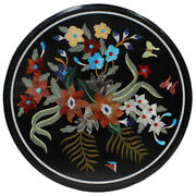 21x21 Round Black Marble Dining Table Top Pietra Dura Art Lawn Table