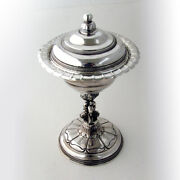 Spanish Covered Bowl Dolphin Pedestal Base 900 Silver 1850
