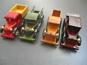 Unique Set Of 3 Vintage Hand Made Wooden Toy Pickup Trucks And 1 Rumble Seat Car