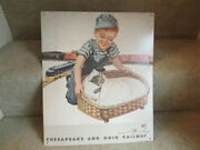 Chesapeake And Ohio Railway Metal Sign Boy W/ Chessie Cat In A Basket Cando Railroad