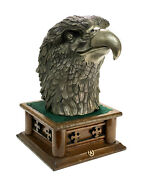Large Chinese Silver Plate And Patinated Eagle Head Sculpture On Wooden Base