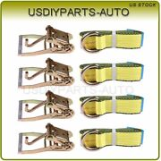 4-set Lasso And Wheel Lift Straps And Ratchet J Finger Hook Tow Towing Tie Down Us