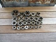 Vintage-lot Of26 Round Thread Cutting Dies,morse,s.t.co.andg.t.d.-array Of Sizes
