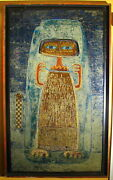 Vintage Art Painting Hula Y El Arco By Raul Conti - Oil-on-board - Argentina