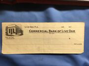 1930and039s Commercial Bank Of Live Oak Florida Obsolete Check Blank