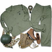 Us Army Usmc Hbt Uniform And M1 Helmet With Cover Usmc Leggings And Boot Belt