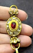 Antique Estate Old Clear Diamond Natural Ruby Solid 22k Gold 18th Royal Pendant
