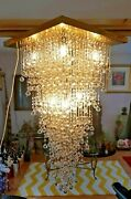 Vintage Large Square Gold Plated And Crystal Austrian Strauss Cascade Chandelier
