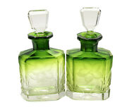 Pair Moser Transition Green To Clear Glass Cologne Bottles. Engraved Flowers