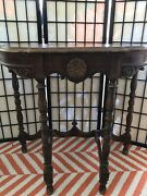 Antique Half Moon Demilune Console Table Drawer Spindles Victorian Style