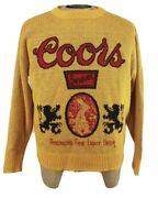 Vintage 70s Coors Beer Sweater Mustard Yellow Gold Knit Crewneck Mens Xl Usa