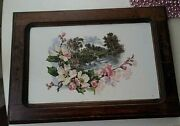 Antique Picture Painting On Porcelain Germany Late 19th Century Flowers Swans