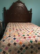 Vintage Handmade Quilt Bedspread Cathedral Window Cottage Chic Farmhouse Style