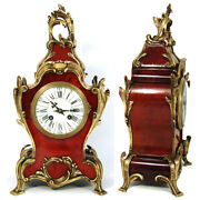 Superb Antique French Boulle Mantel Clock, 15.75 Tall, Ornate Bronze Accenting