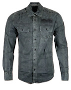 Affliction Menand039s Long Sleeve Button Down Shirt Resist Embroidered Biker S-3xl