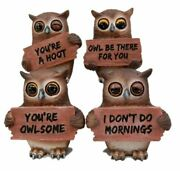 Forest Wisdom Great Horned Owl Holding Signs Figurine Set 3.5h Four Funny Owls