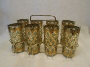 Set 8 Culver Usa Drinking Glass Tumblers Barware Green Diamonds Gold And Carrier