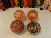 Vintage Lot Of 4 Bouncy Balls Superball 2+ Inches Large Swirl Clear +