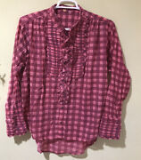 Free People Plaid Miles Tuxedo Shirt Sz S Pink Combo F20t07506 Button Front F5