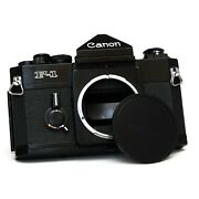 Film Tested Canon F-1 Black Body W/ Cap 35mm Film Camera Japan Fully Working