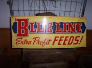Vintage Blue Line Feeds Metal Sign Old Farm Feed Seed Agriculture Advertising