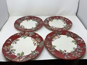Sets Of 4 - Tracy Porter Jolly Ol Snowy 11 Holly Dinner Plates - Near Perfect