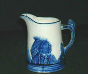 1 Half Pint Blue Rimmed Blue And White Sleepy Eye Pitcher - Western Monmouth Ill