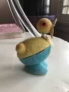 Vintage Easter Chick Candy Container Bobble Head Mica Blue Yellow Japan