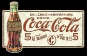 1915 Coke Delicious 5 Cent Large Premium New Embossed Tin Sign