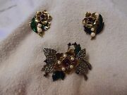 Vintage Christmas Avon Rich Christmas Brooch And Earrings Holiday Set Pearls
