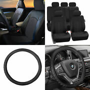 Perforated Leather Auto Seat Covers Black W/ Leather Steering Wheel