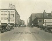 Denver Colorado Downtown Street View Trolley Cars Stores Antique Photo
