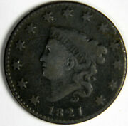 1821 Coronet Head Large Cent Fine + Priced Right