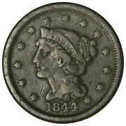 1844/81 Braided Hair Large Cent Clear Overdate Variety Fine+ Priced Right