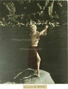 Dancing Nude Hula Girl Tinted Vintage Photo By Sutton