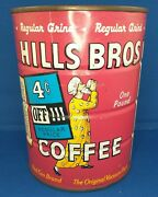 Vintage 1963 Hills Bros Coffee Can Tin 1 Lb. Unopened Full Sealed Red Can Brand