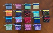 Keychain Lined Zipper Pouch W/pocket - Holds Earbuds Coins Golf Tees Etc