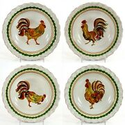 Williams-sonoma Tuscan Rooster 9.75 Pasta Bowl Set 4pc Italian Pottery Mint