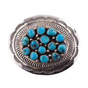 Navajo Thompson Platero Sterling Silver And Turquoise Belt Buckle Signed - Vintage